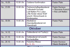 Gottesdienste KK Sep-Nov 18