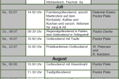 Gottesdienste KK Jun-Aug 17